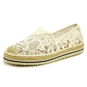 Madden Girl Maui Ivory Lace Espadrille Flats
